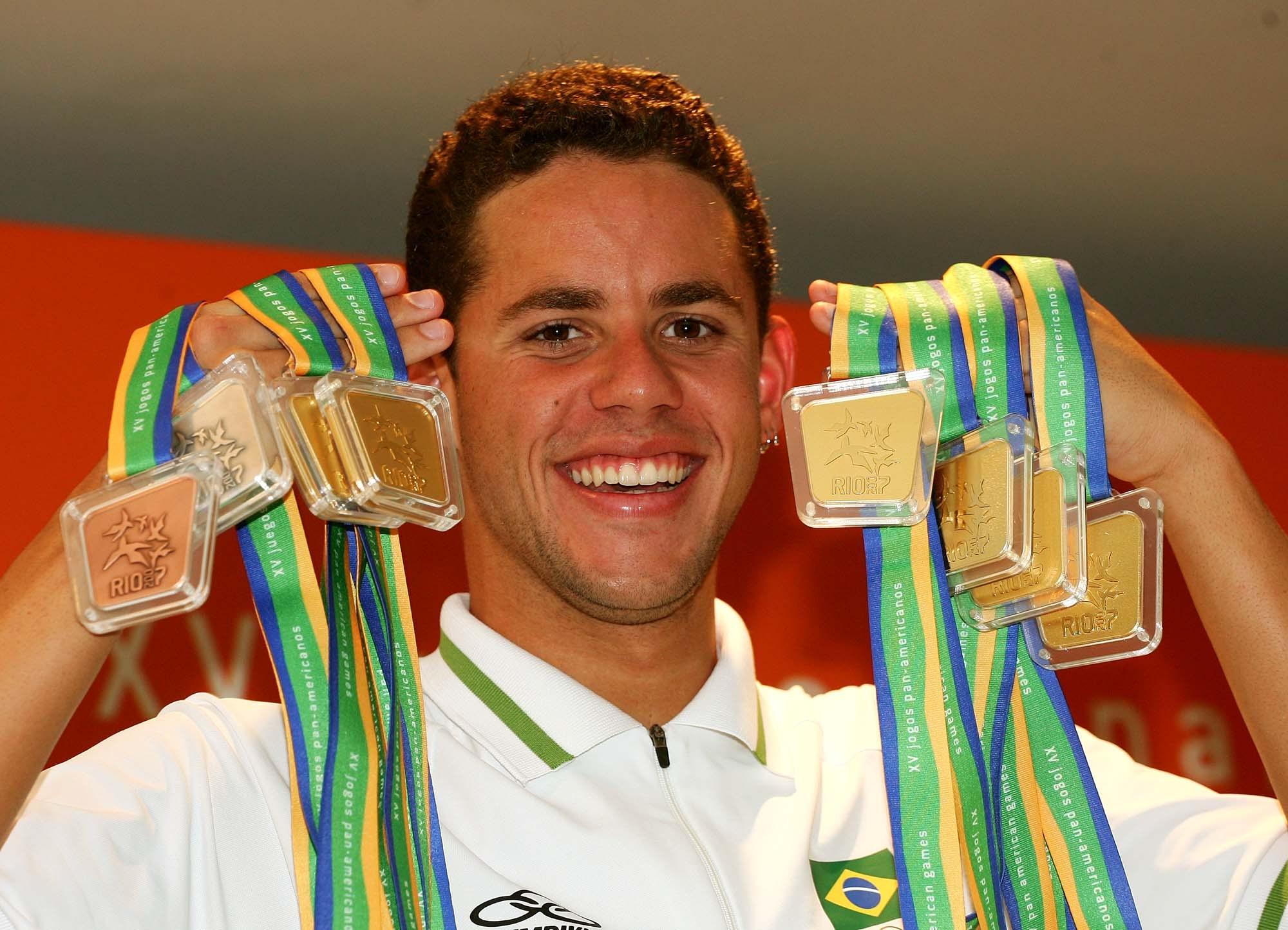 Thiago Pereira é o maior medalhista brasileiro na história dos Jogos Pan-Americanos. Pereira durante os Jogos Pan Americanos do Rio de Janeiro, em 2007.