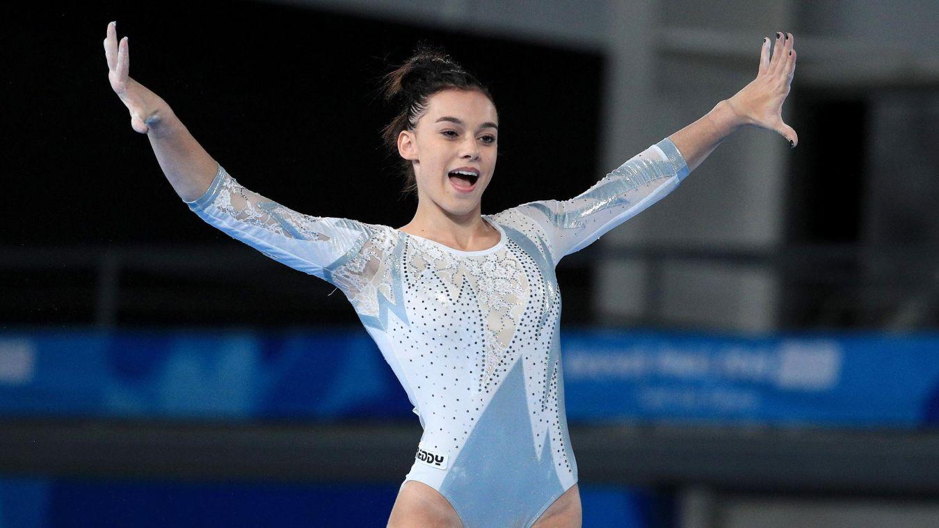 Ginasta italiana Giorgia Villa durante apresentação no solo da ginástica artística nos Olimpíadas da Juventude, Buenos Aires, 2018.