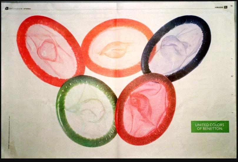 Campanha de camisinhas da empresa Benetton para os Jogos Olímpicos de 2016.