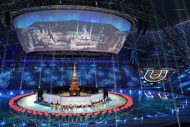 Rússia, 2013: Abertura dos Jogos Universitários em Kazan.