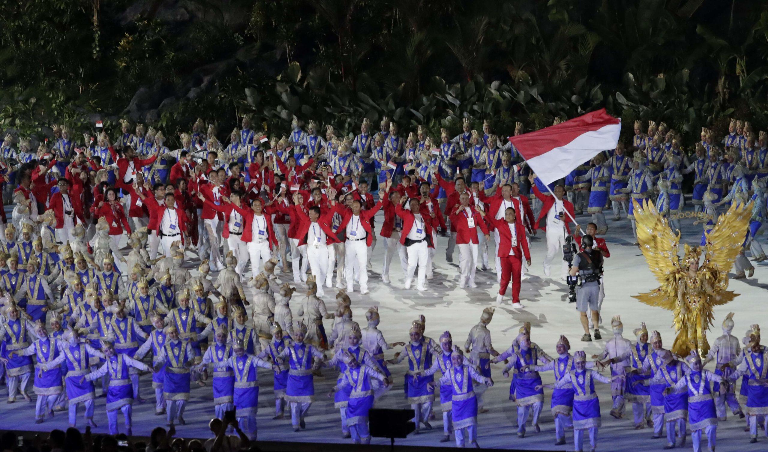 Delegação da Indonésia na abertura dos Jogos Asiáticos de 2018, em Jacarta, capital do país.