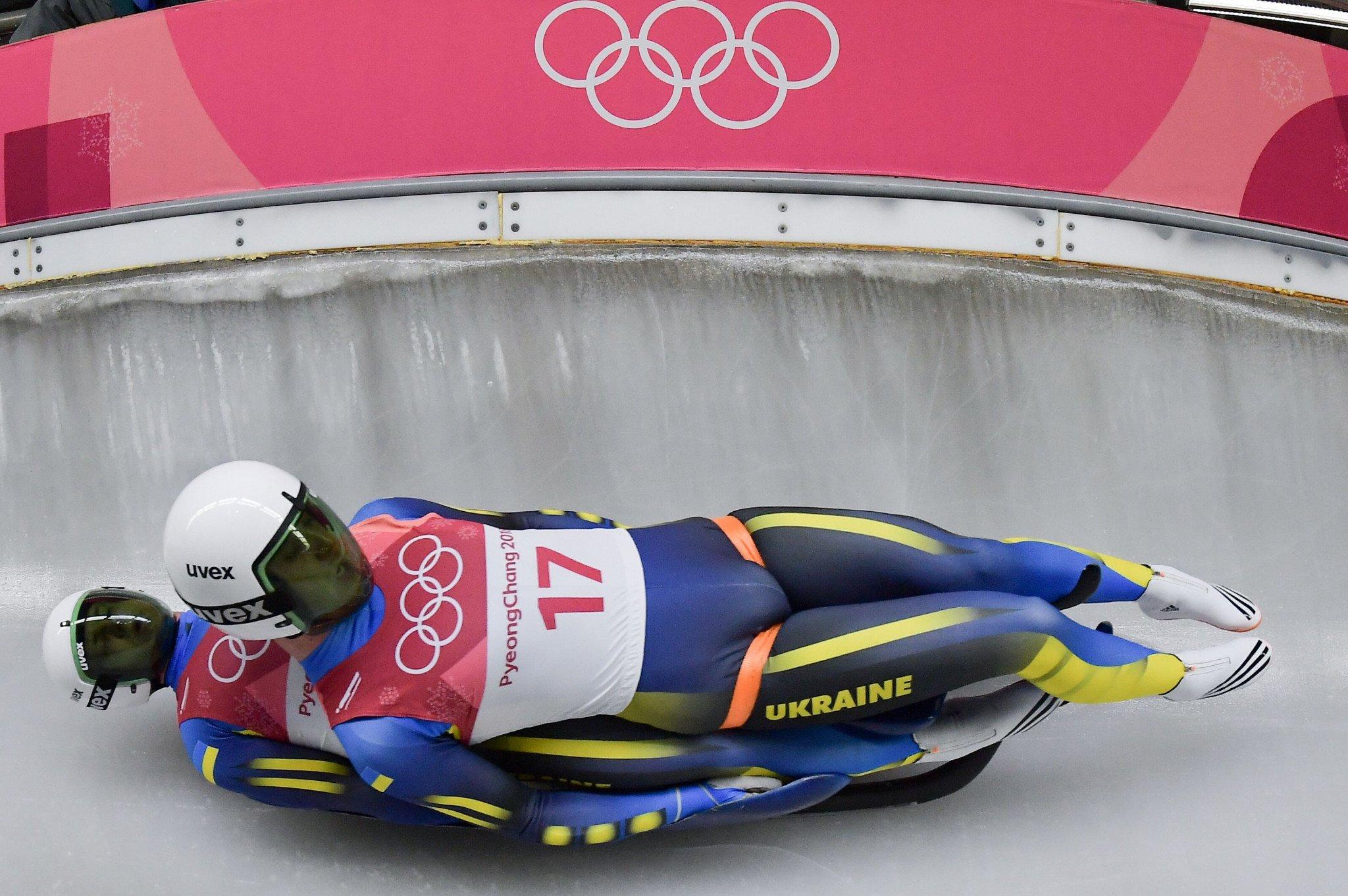 A seleção ucraniana de Luge, em 2018, nos Jogos Olímpicos.