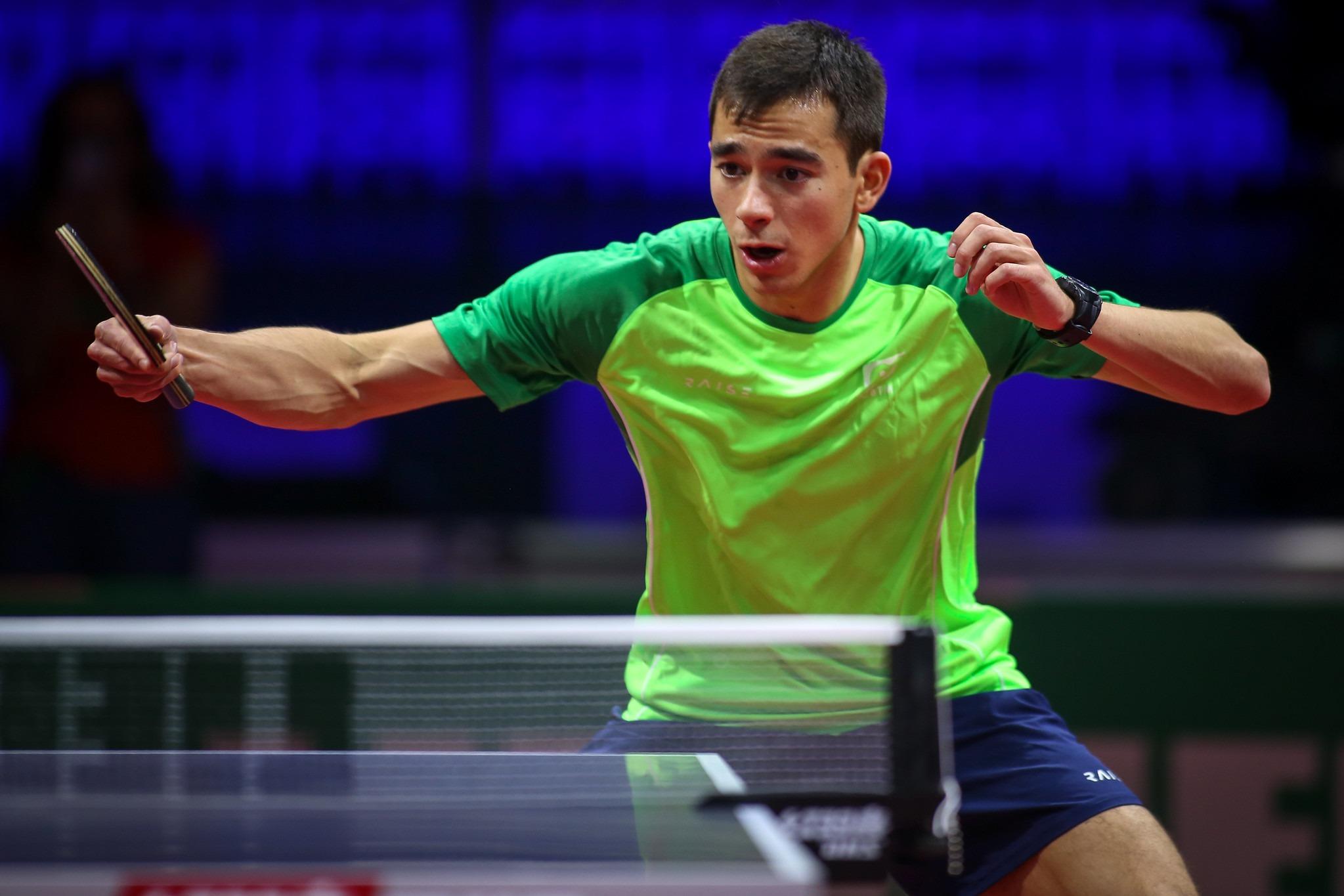 Hugo Calderano no mundial de tênis de mesa