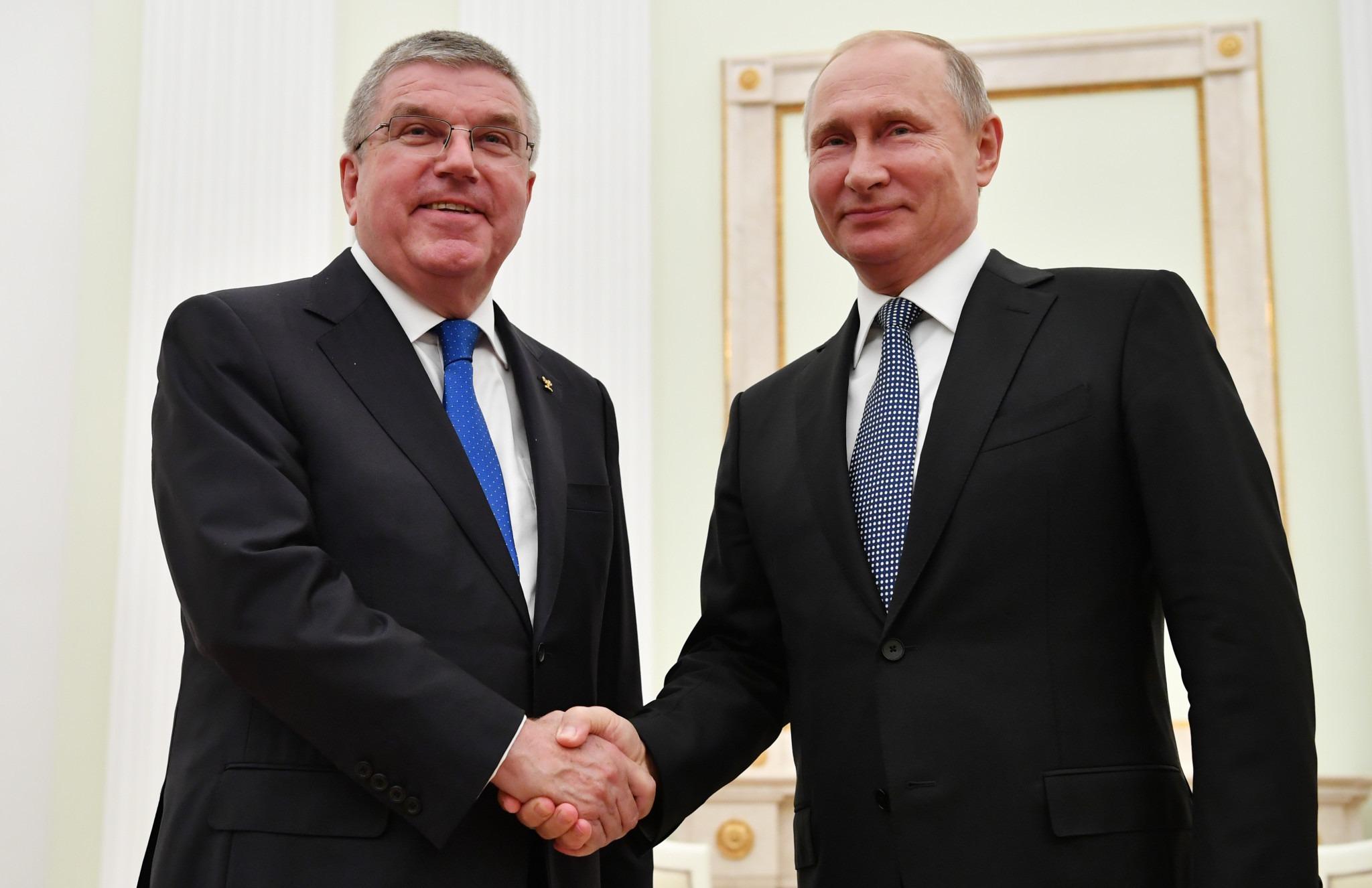Bach e Putin participam do encerramento de Minsk 2019