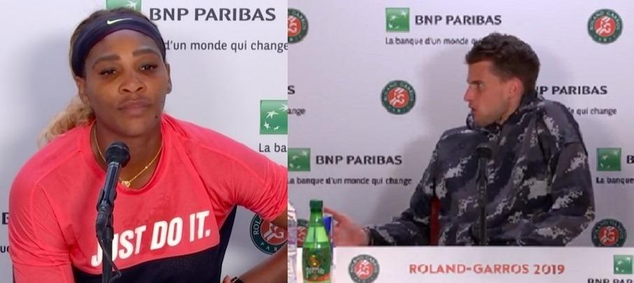 Serena Williams invade entrevista de Thiem e austríaco se irrita