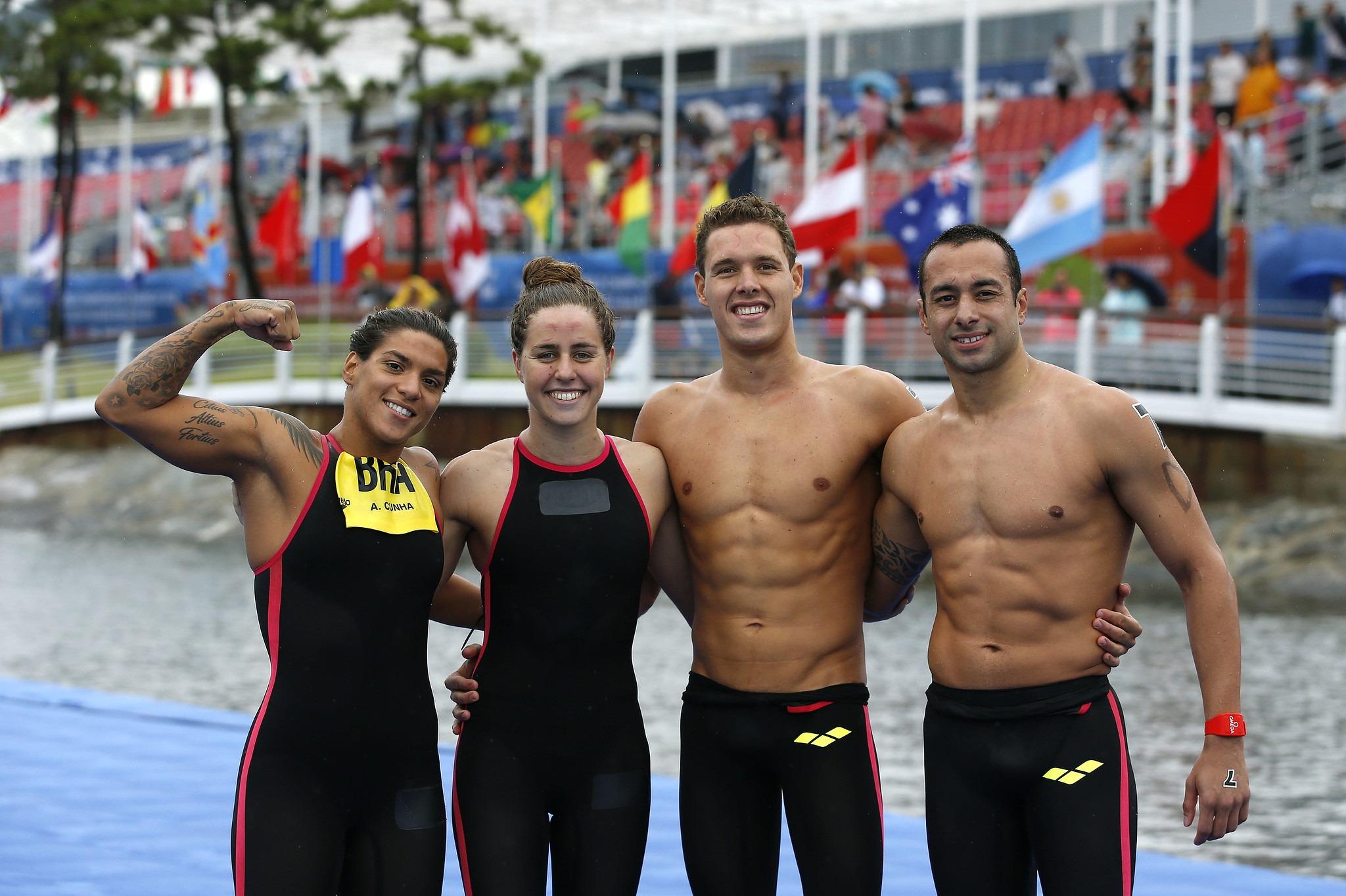 Brasil é 4º no revezamento das maratonas aquáticas no Mundial de Gwangju