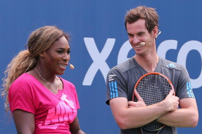 Andy Murray e Serena Williams jogam juntos em Wimbledon