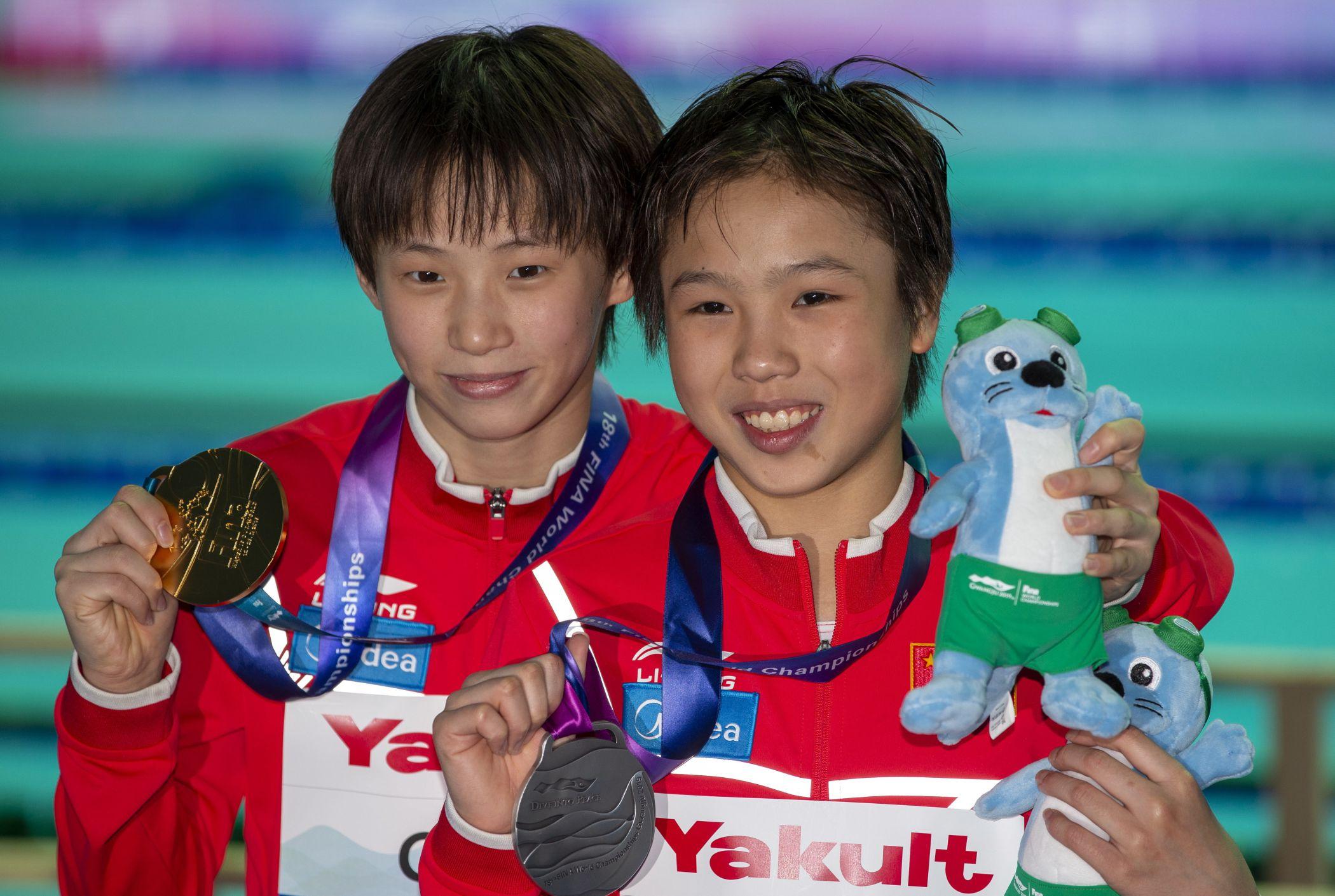 Chinesas de 13 anos conquistam medalhas no Mundial de Gwangju