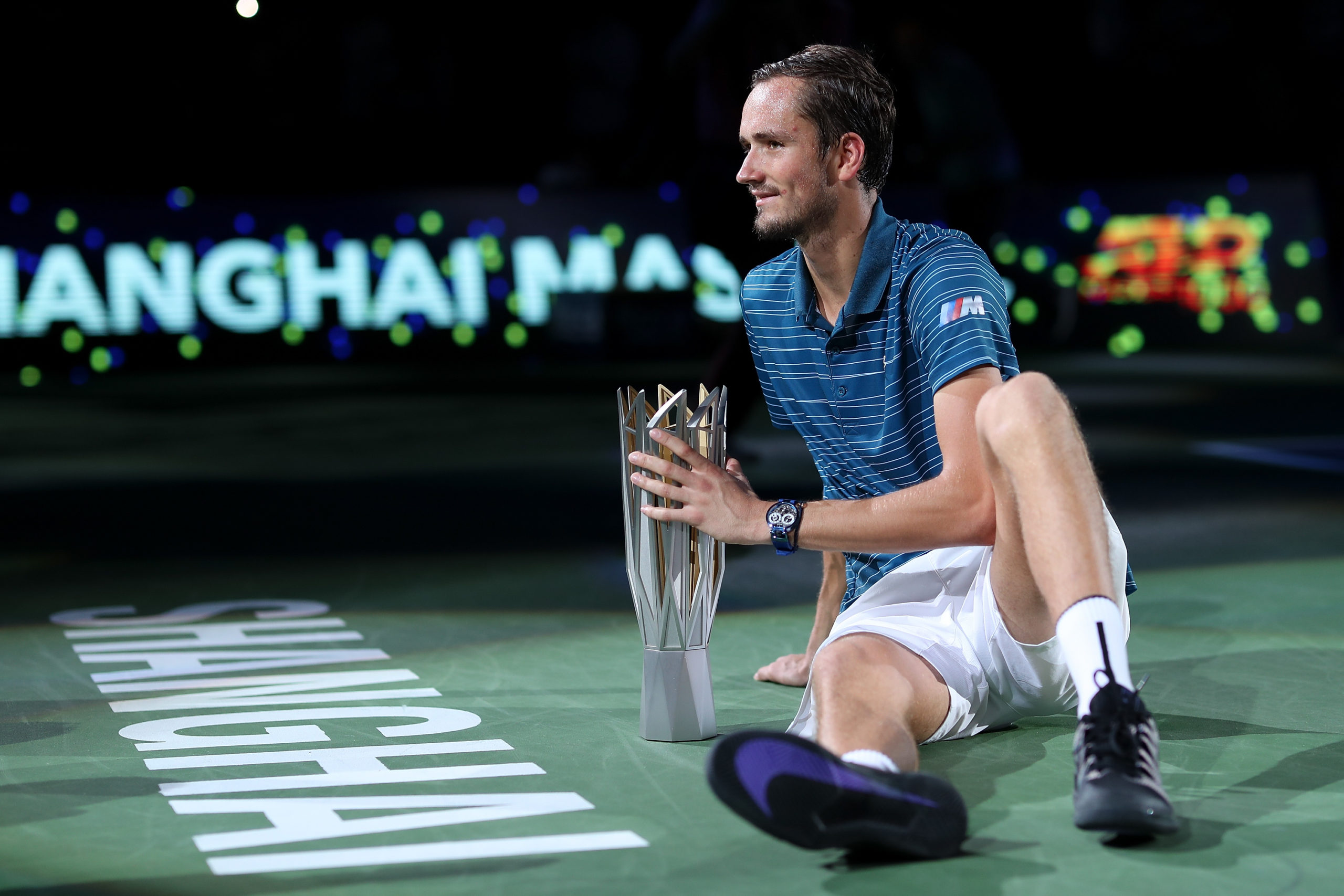 SHANGHAI, CHINA - OCTOBER 13:  Daniil Medvedev of Russia with the trophy during the Award Ceremony after winning the Men's Singles final match against Alexander Zverev of Germany on day nine of 2019 Shanghai Rolex Masters at Qi Zhong Tennis Centre on October 13, 2019 in Shanghai, China.  (Photo by Lintao Zhang/Getty Images)
