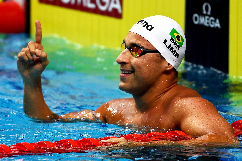Felipe Lima é prata nos 50m peito em Kazan