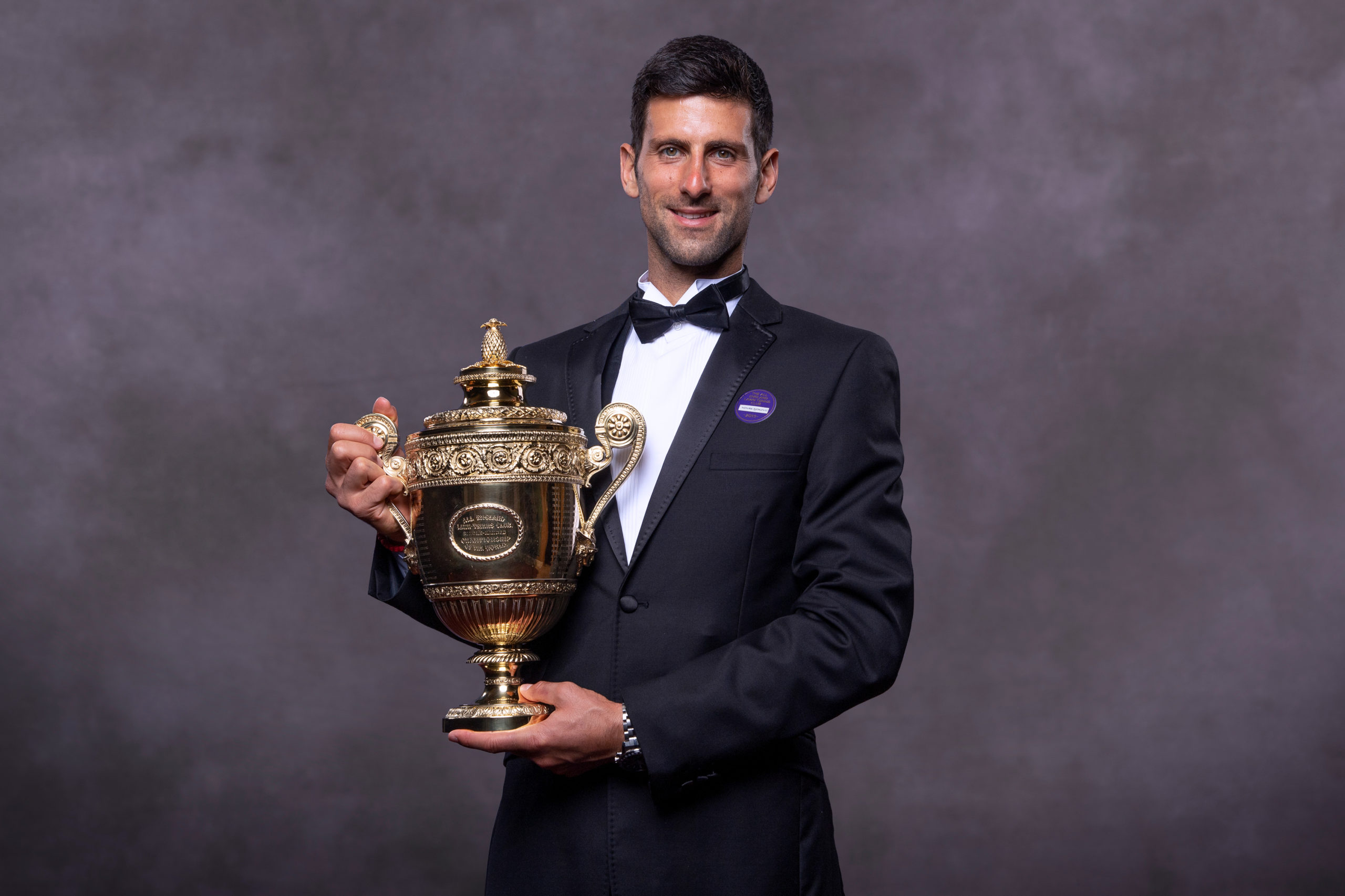 LONDON, UNITED KINGDOM - JULY 14:  (EDITORIAL USE ONLY) In this handout image supplied by the All England Lawn Tennis Club, Novak Djokovic of Serbia, the Gentlemens Singles champion photographed at the Champions' Dinner at The Guildhall on July 14, 2019 in London, England.  (Photo by Thomas Lovelock / AELTC via Getty Images)