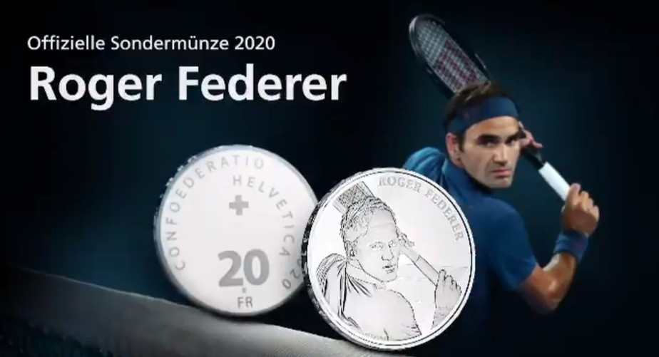 Roger Federer estampará moedas de 20 e 50 francos suíços