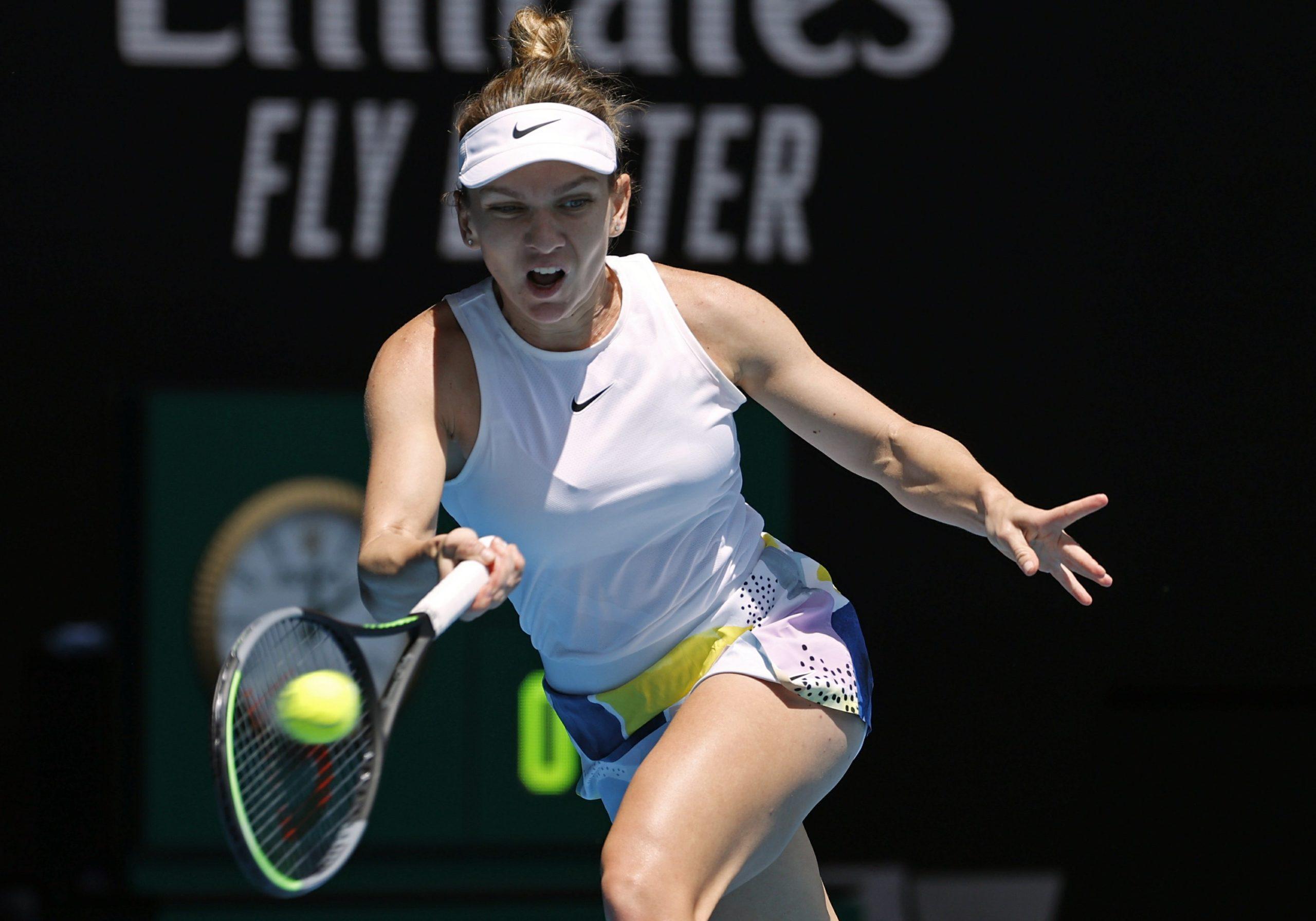 Simona Halep é a primeira classificada às quartas de final do Australian Open. Foto: ©AP Photo/Andy Wong