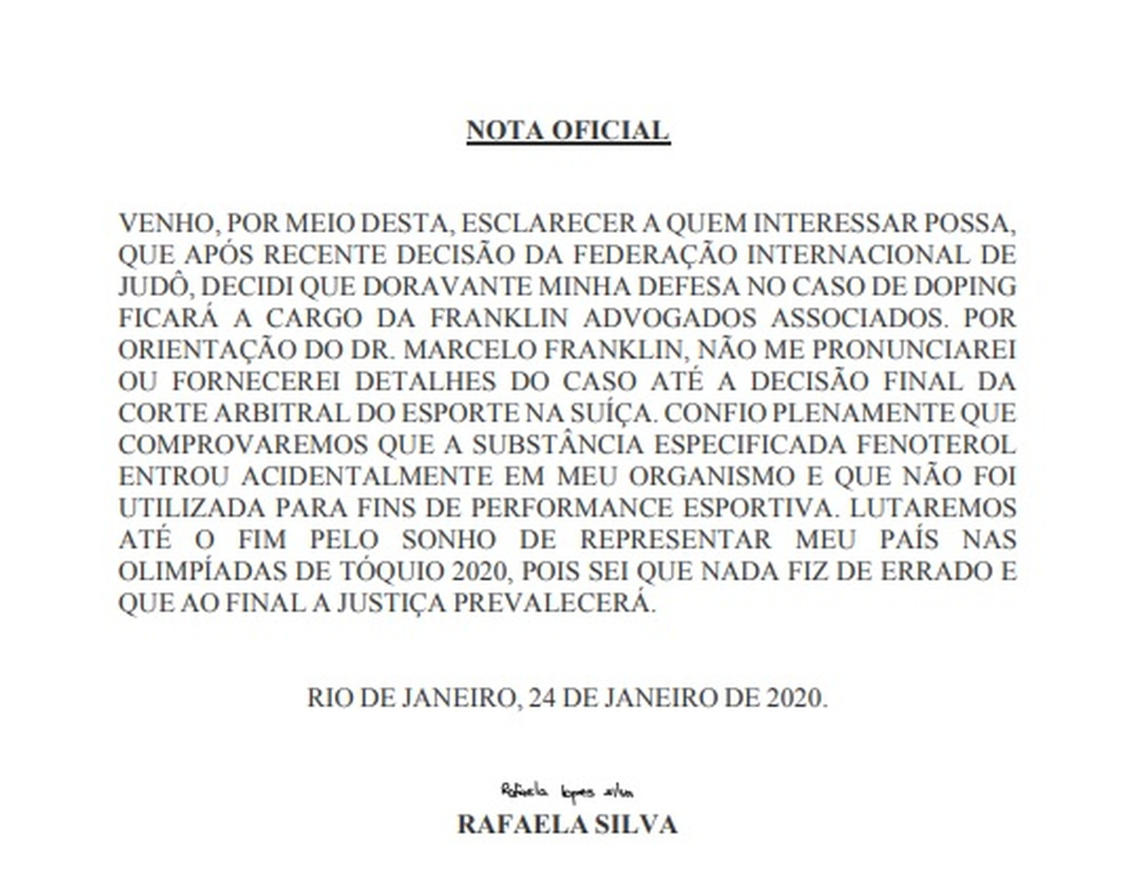 Campeã olímpica, judoca Rafaela Silva é suspensa por dois anos por doping
