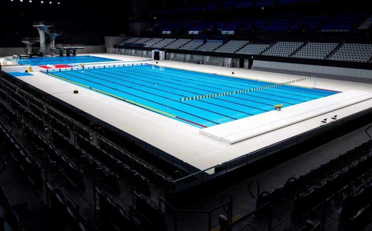 The 56.7 billion yen (S$694 million) Aquatics Centre was completed in February 2020. PHOTO: AFP